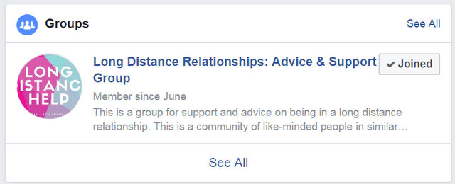 Facebook Community and Support Forum for Long Distance Relationships
