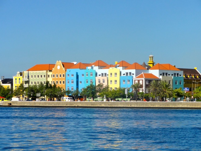The famous colored buildings on Curacao Island in the Caribbean.