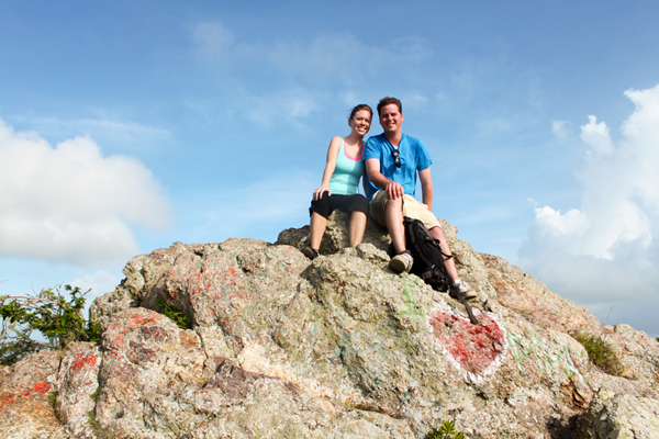 Jenna and Micah on top of Mt. Christoffel