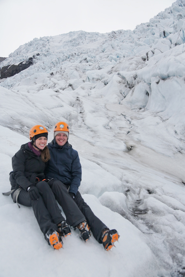 On our glacier hiking adventure in Iceland