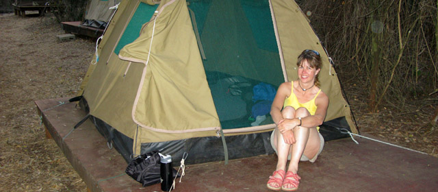 Camping inside the park.