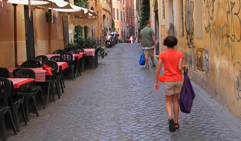 "My son and daughter carrying groceries to our ""expensive"" apartment in Rome; This is the street it was on, Via Balestari just off Campo dei Fiori."