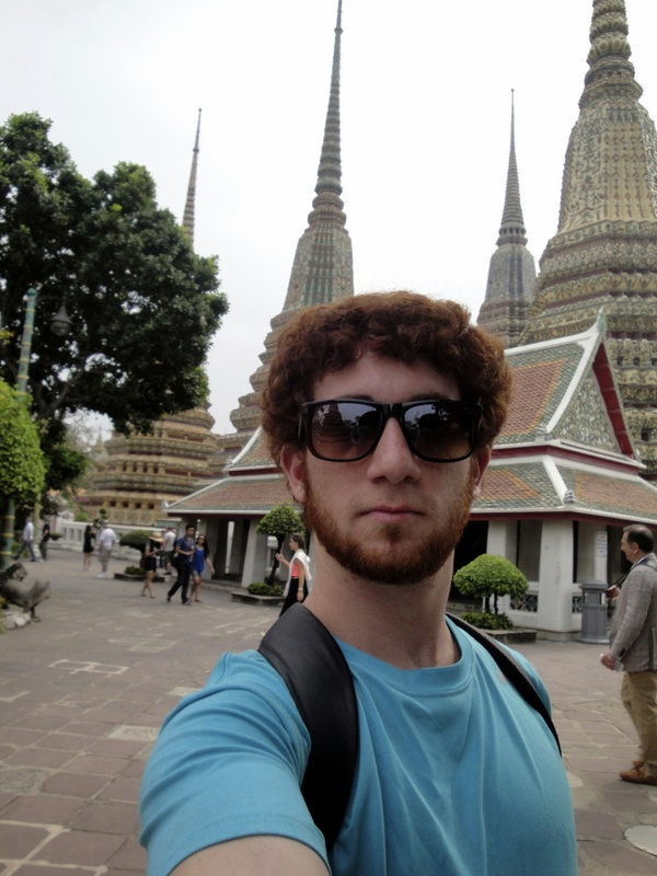 Drew Goldberg from the Hungry Partier outside the Grand Palace in Bangkok.