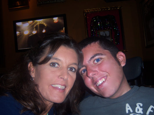 My mom and I inside Hard Rock Café in Munich, Germany.