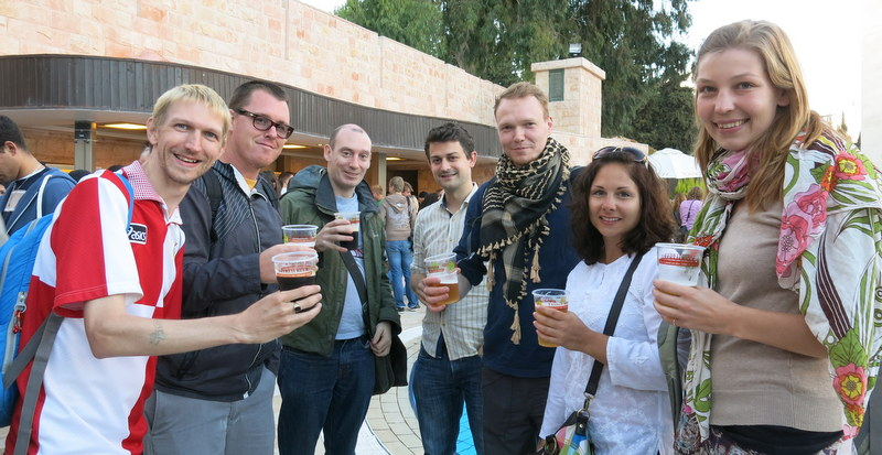 Meeting new people.  Beer Festival in Ramallah, Palestine.
