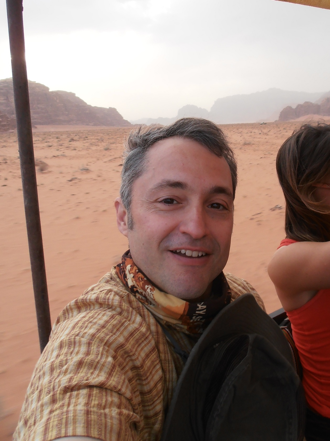 Raul from ilivetotravel.  A jeep ride through Wadi Rum in Jordan.