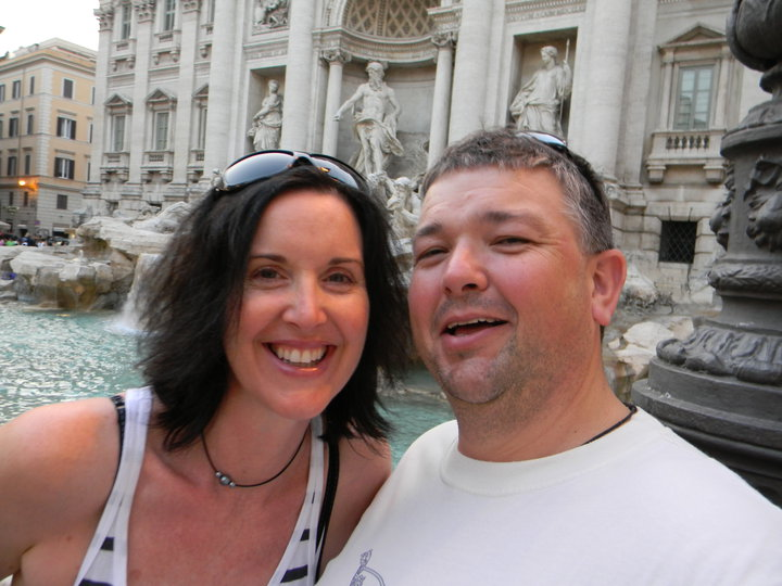 Sharon & Ray Young at the Trevi Fountain, Rome.