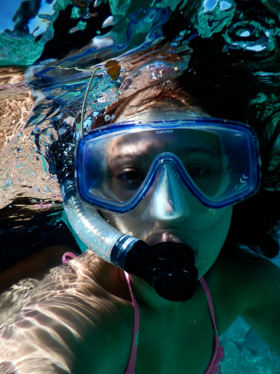 Jess from A Passion and a Passport.  Diving selfie from Belize!