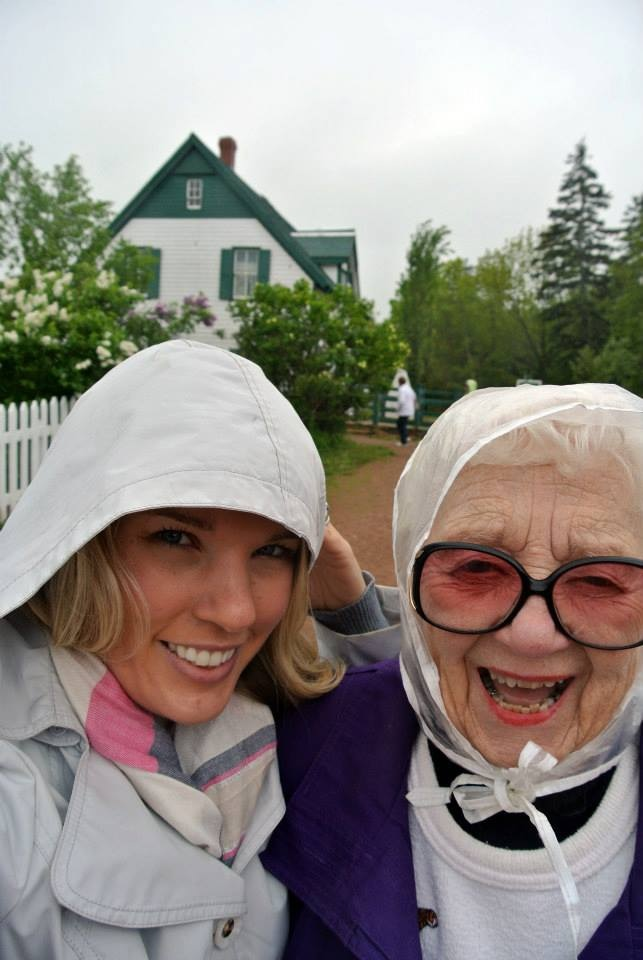 Patti Bath and her Grandmother outside Anne of Green Gable's house on Prince Edward Island in Canada.