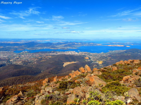 The stunning views over Hobart from Mt Wellington