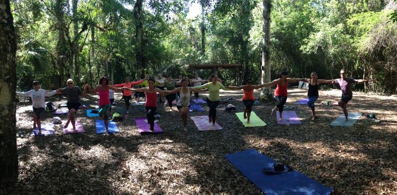 Teaching yoga on my everglades adventure