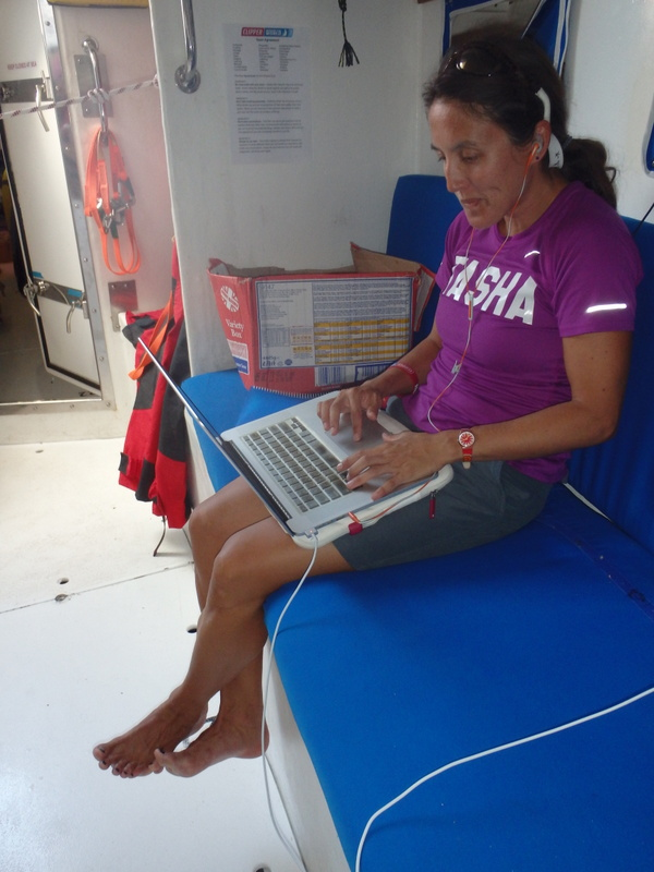 What blogging from a racing boat looks like!
