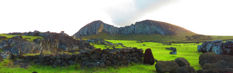 A view of Rano Raraku. The most iconic moai shots from Easter Island are taken here.