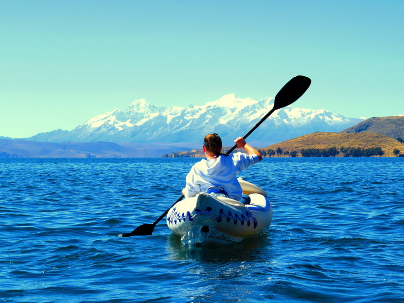 Kayaking Lake Titicaca with Banjo Tours.