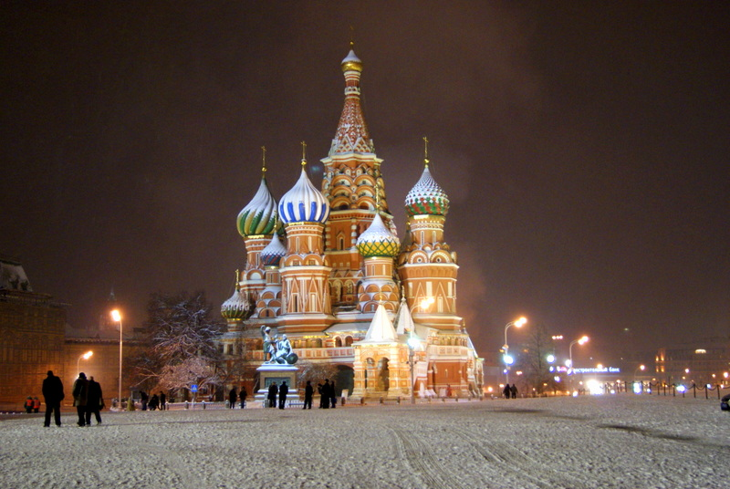 St Basil's Cathedral covered in snow, Moscow