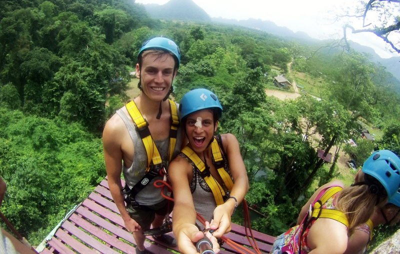Ziplining over rice paddies in Laos.