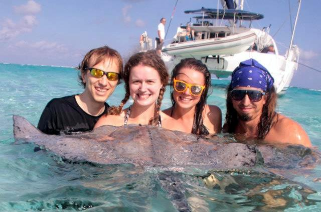 Swimming with Manta Rays on Grand Cayman.