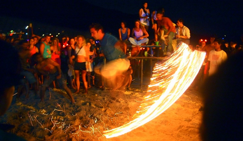 Flaming Jump Rope, Full Moon Party Thailand.