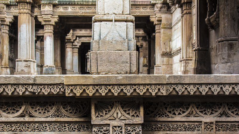 The Stepwell is five storeys deep and supported on huge pillars intricately carved.