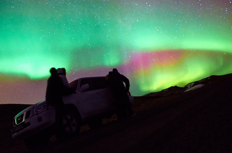 Driving to the Northern Lights in Iceland