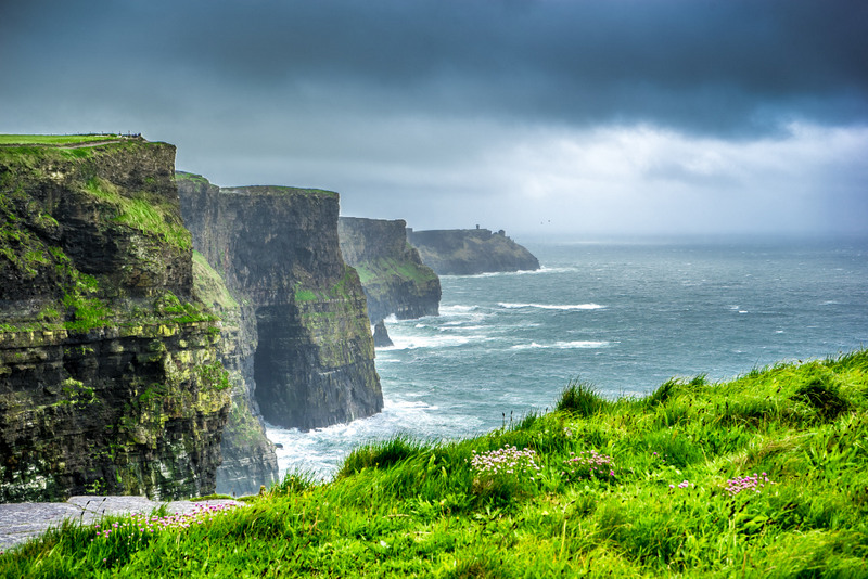 The Cliffs of Moher stretch for eight kilometers along the Atlantic coast and I walked almost the whole length of them.