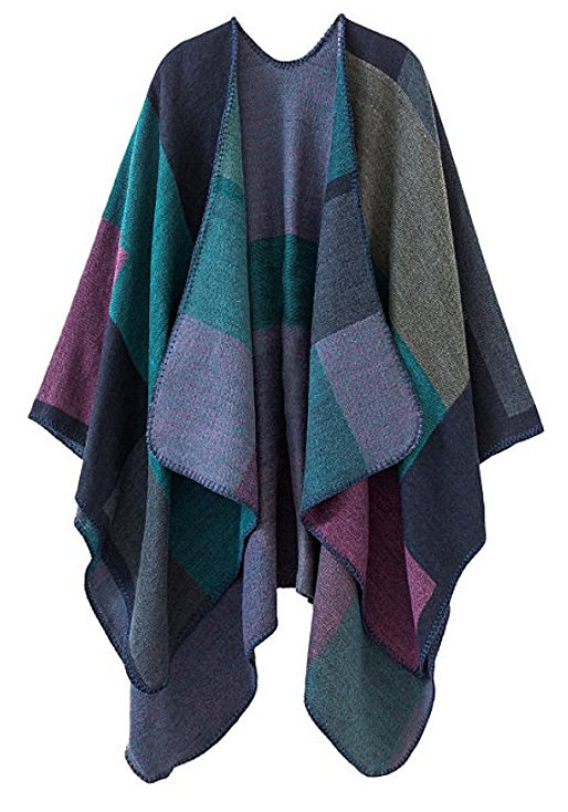 Urban CoCo Women's Color Block Open front Blanket Poncho