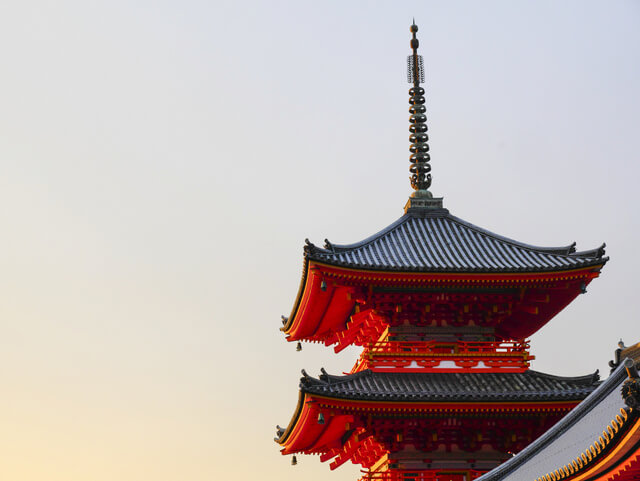 Pagoda at Sunset, Kiyomizu-dera Temple in Kyoto, Japan