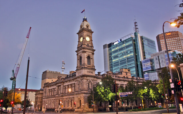 Shot just before 7am in the morning, just as the first hint of light is hitting buildings in the middle of Adelaide city