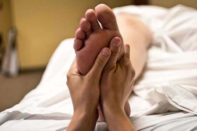 The best way to alleviate the pain of tired and sore feet is with a massage.