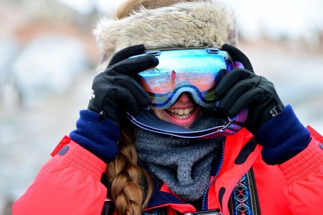 Protect your eyes against the incredible glare which reflects off the ice.