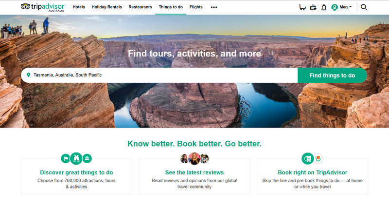 Experience booking tours through TripAdvisor