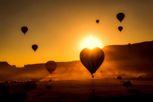 Hot air balloon sunset RF