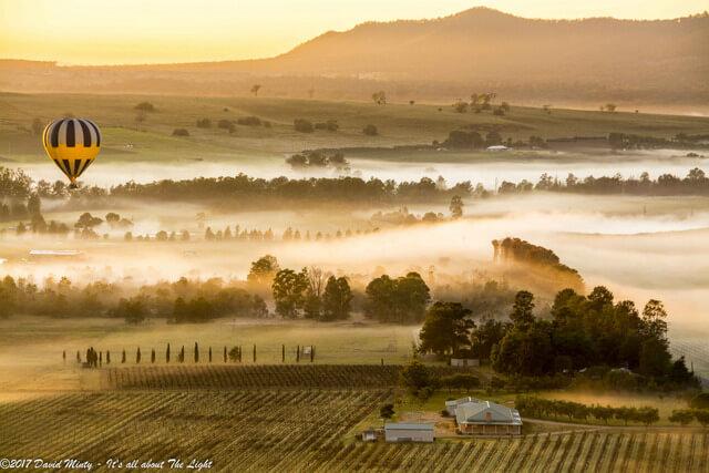 Baloons Aloft flight over Broke Valley Hunter region NSW