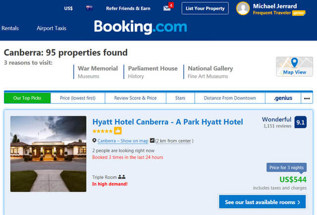Canberra Booking