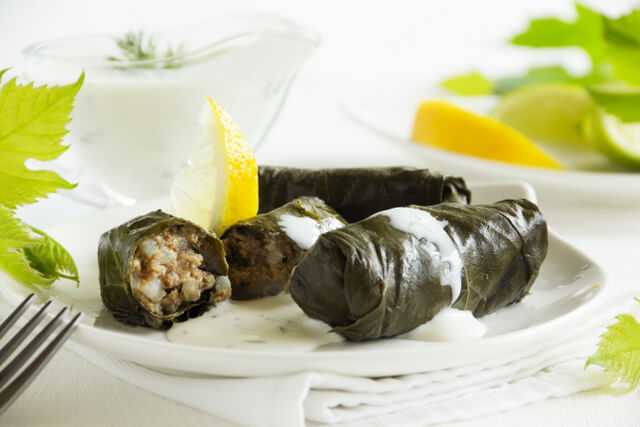 dolma, stuffed grape leaves, turkish and greek cuisine