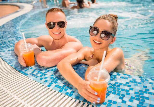 Swimming resort couple RF